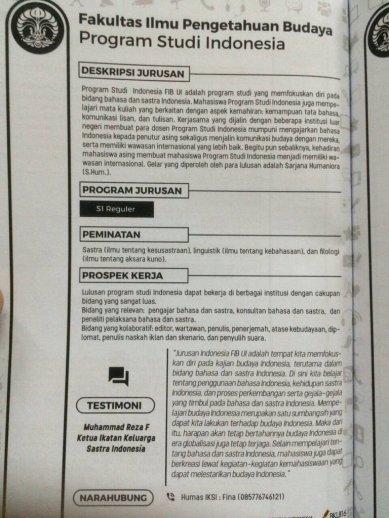 Artikel Jurusan untuk Bedah Kampus Universitas Indonesia 2016